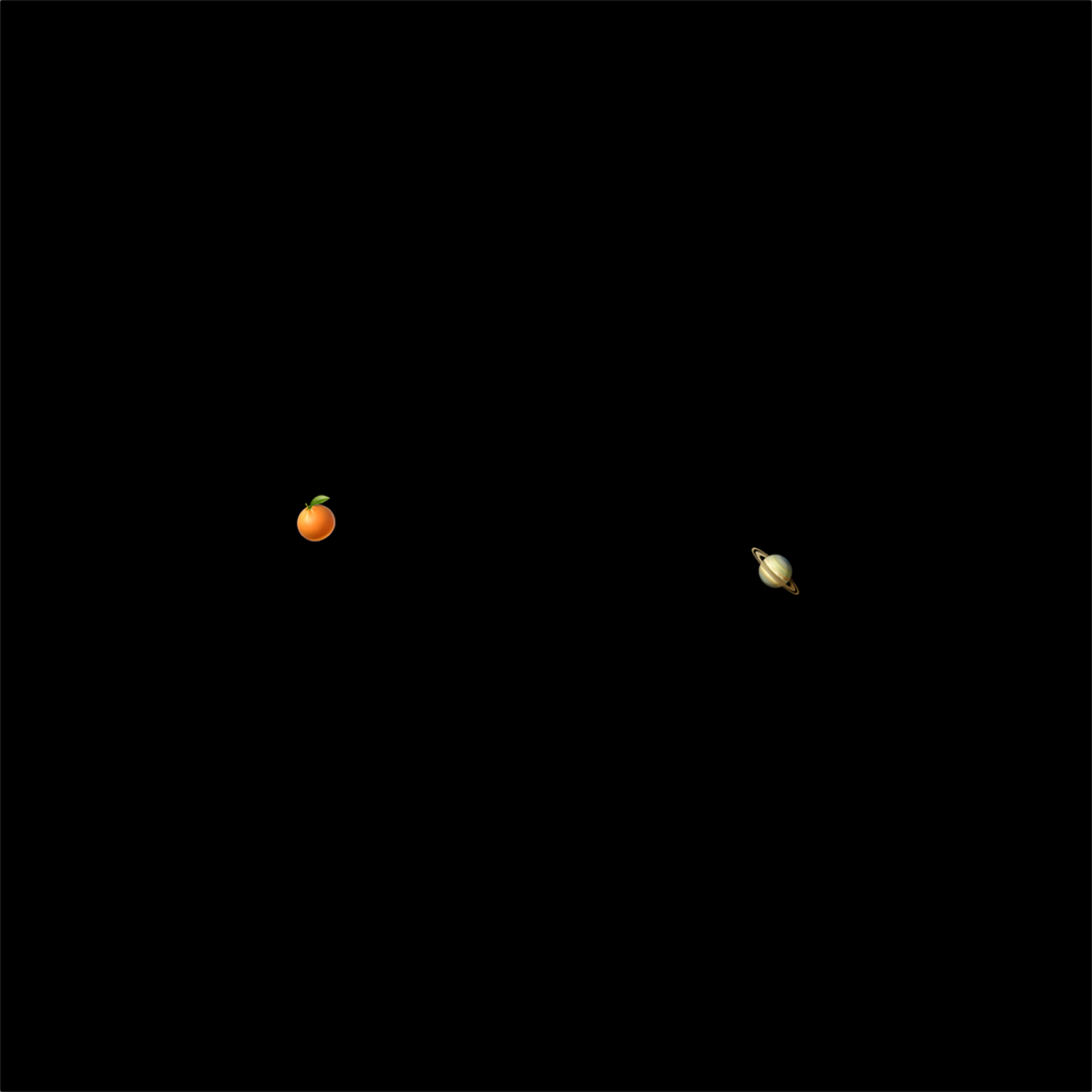 tangerine and saturn emoji on black background mimicing the conjuction of Jupiter and Saturn